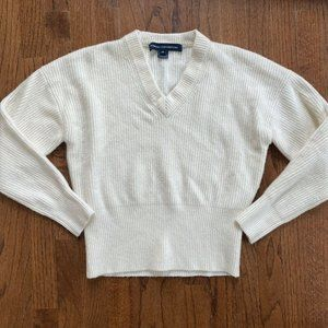French Connection Sweater FCUK White Pullover Y2K 90s Retro Wool Women's Size XS